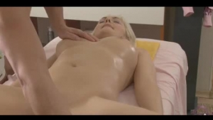 Sweet blonde fucked and shaking by a girln