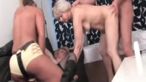 Horny guys got a hard dick into their wet pussies, while fucking their friends