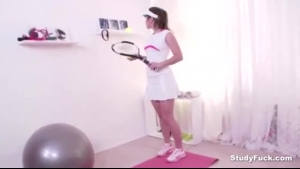 Amazing brunette tennis player sucking and fucking her stud