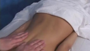 Small titted blonde is getting nailed in a massage center during a nice porn video casting