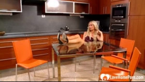 Busty blonde housewife and her best friend's husband decided to make love in the kitchen
