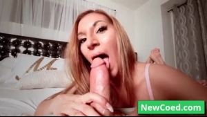 Naughty blonde Moka Mora dominates her stud during lesbian session