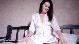 Luscious brunette riding on her masseur