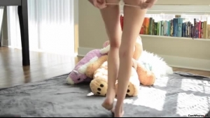 Tall brunette with blonde hair took off her pink teddy to get fucked properly