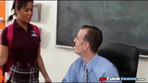 Seductive coed in schoolgirl uniform getting a good fuck